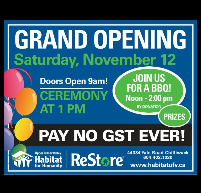 Grand Opening of Habitat for Humanity Restore Chilliwack, BC